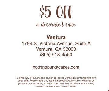 $5 off a decorated cake