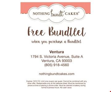 Free Bundtlet when you purchase a Bundtlet.
