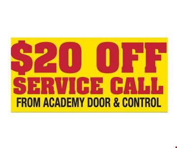 $20 Off Service Call