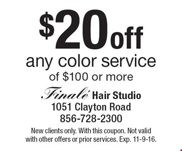 $20 off any color service of $100 or more. New clients only. With this coupon. Not valid with other offers or prior services. Exp. 11-9-16.