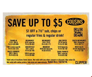 Save up to $5 $1 OFF a 71/2
