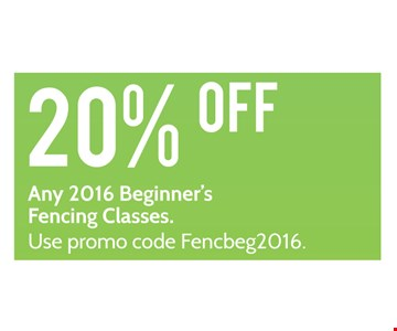 20% off any 2016 Beginner's Fencing Classic