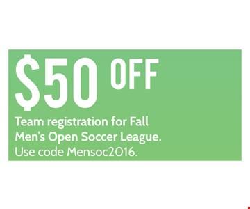 $50 off Team registration for Fall Men's Open Soccer League