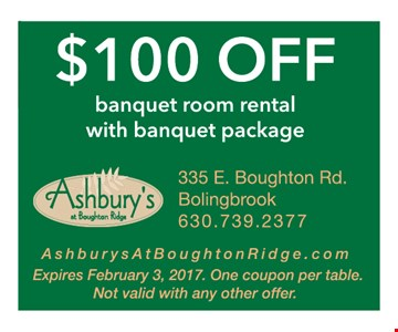 $100 off banquet room rental with banquet package
