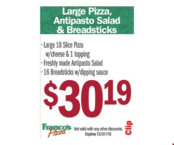 $30.19 large pizza, antipasto salad and breadsticks