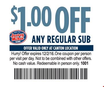 $1 off any regular sub