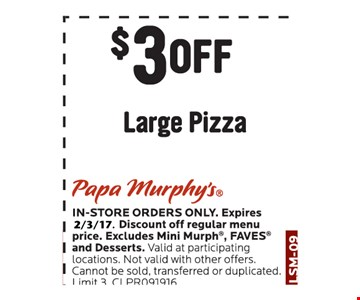 $3 off large pizza