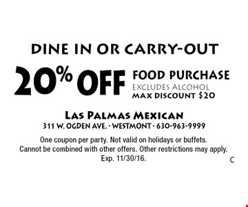 Dine in or carry-out. 20% off food purchase. Excludes alcohol. Max discount $20. One coupon per party. Not valid on holidays or buffets. Cannot be combined with other offers. Other restrictions may apply. Exp. 11/30/16.