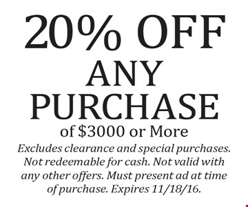 20% Offany purchase of $3000 or More. Excludes clearance and special purchases. Not redeemable for cash. Not valid with any other offers. Must present ad at time of purchase. Expires 11/18/16.