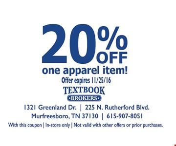 20% off one apparel item