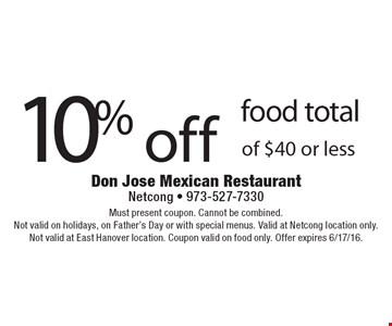 10% off food total of $40 or less. Must present coupon. Cannot be combined. Not valid on holidays, on Father's Day or with special menus. Valid at Netcong location only. Not valid at East Hanover location. Coupon valid on food only. Offer expires 6/17/16.