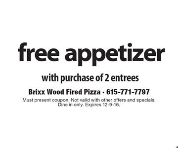 Free appetizer with purchase of 2 entrees. Must present coupon. Not valid with other offers and specials. Dine in only. Expires 12-9-16.