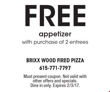 Free appetizer with purchase of 2 entrees. Must present coupon. Not valid with other offers and specials. Dine in only. Expires 2/3/17.