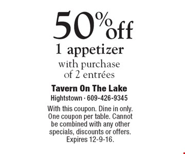 50% off 1 appetizer with purchase of 2 entrees. With this coupon. Dine in only. One coupon per table. Cannot be combined with any other specials, discounts or offers. Expires 12-9-16.