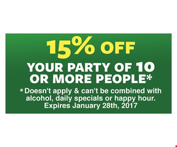 15% off your party of 10 or more people