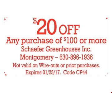 $20 Off Any purchase of $100 or more