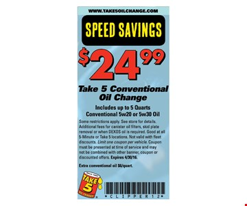 $24.99 conventional oil change