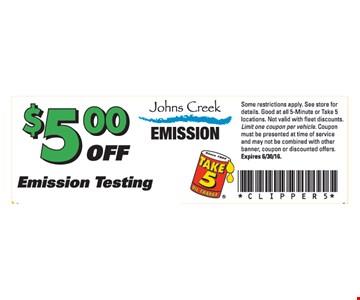 $5 Off Emission Testing