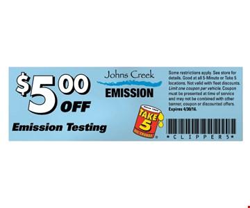 $5 off emission testing.