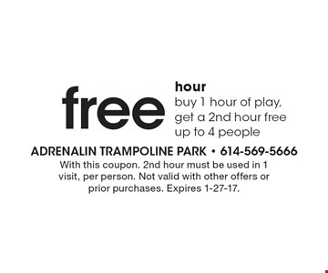 free hour buy 1 hour of play, get a 2nd hour free up to 4 people. With this coupon. 2nd hour must be used in 1 visit, per person. Not valid with other offers or prior purchases. Expires 1-27-17.