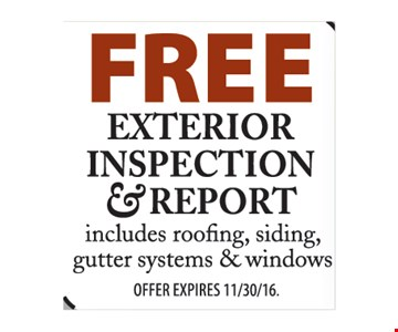 Free exterior inspection & report