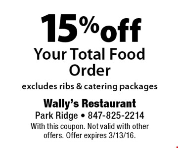 15% off Your Total Food Order excludes ribs & catering packages. With this coupon. Not valid with other offers. Offer expires 3/13/16.
