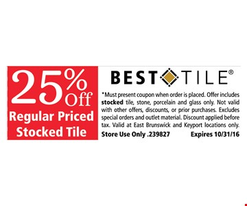 25% Off Regular priced Stocked title