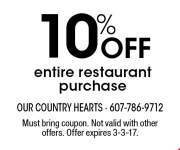 10% Off entire restaurant purchase. Must bring coupon. Not valid with other offers. Offer expires 3-3-17.