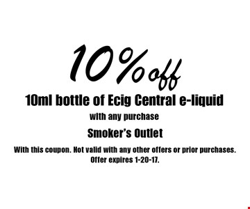 10% off 10 ml bottle of Ecig Central e-liquid with any purchase. With this coupon. Not valid with any other offers or prior purchases. Offer expires 1-20-17.