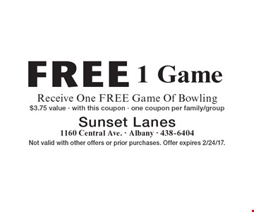 Free 1 Game. Receive One FREE Game Of Bowling. $3.75 value - with this coupon - one coupon per family/group. Not valid with other offers or prior purchases. Offer expires 2/24/17.