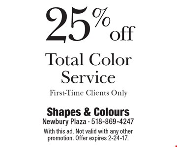 25% off Total Color Service. First-Time Clients Only. With this ad. Not valid with any other promotion. Offer expires 2-24-17.