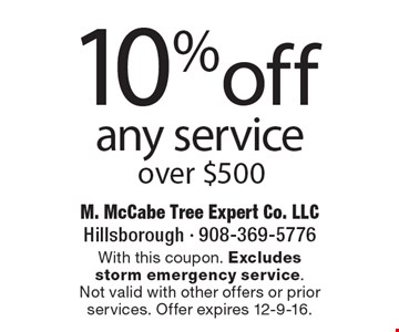 10%off any service over $500. With this coupon. Excludes storm emergency service.Not valid with other offers or prior services. Offer expires 12-9-16.