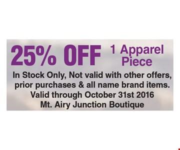 25% Off 1 Apparel Piece