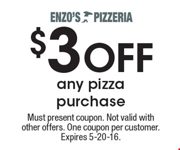 $3 OFF any pizza purchase. Must present coupon. Not valid with other offers. One coupon per customer. Expires 5-20-16.