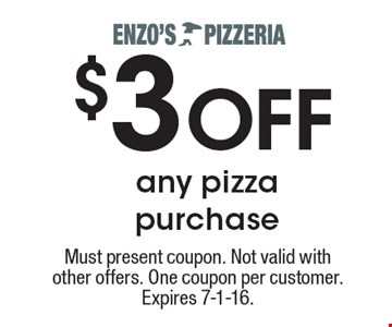 $3 OFF any pizza purchase. Must present coupon. Not valid with other offers. One coupon per customer. Expires 7-1-16.