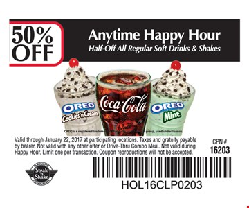 50% Off Regular Soft Drinks & Shakes
