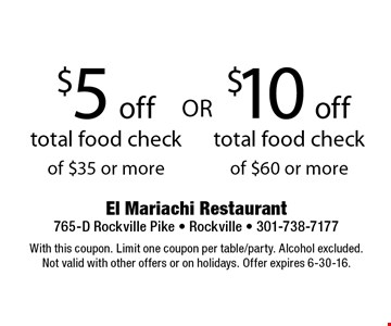 $5 off total food check  o$ 35 or more OR $10 off total food check of $60 or more. With this coupon. Limit one coupon per table/party. Alcohol excluded.Not valid with other offers or on holidays. Offer expires 6-30-16.