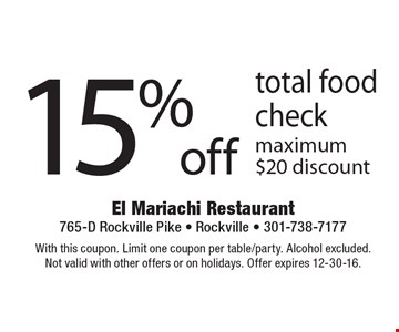 15% off total food check. Maximum $20 discount. With this coupon. Limit one coupon per table/party. Alcohol excluded. Not valid with other offers or on holidays. Offer expires 12-30-16.
