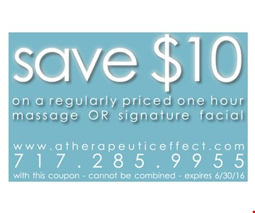 Save $10 on massage or facial