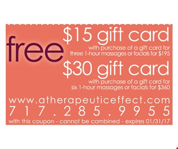 Free $15 gift card. Free $30 gift card