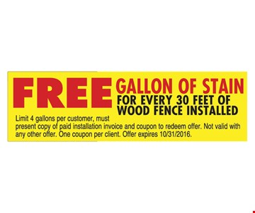 Free Gallon of Stain