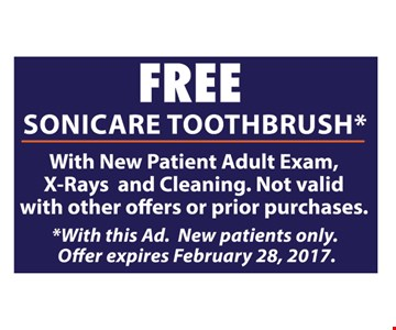 Free Sonicare toothbrush. Expires 2/28/17.