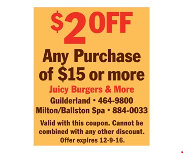$2 off any $15 purchase.