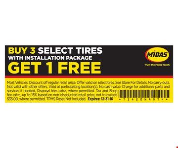 Buy 3 Select Tires With Installation Package Get 1 Free