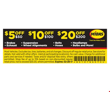 $5 Off, $10 Off, or $20 Off