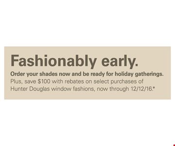 Save $100 on Hunter Douglas window fashions