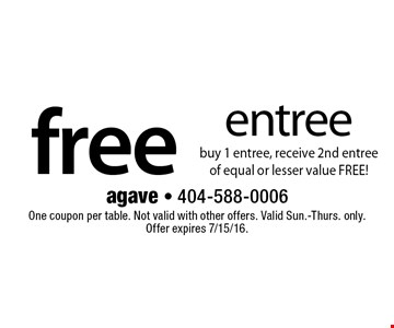 Free entree. Buy 1 entree, receive 2nd entree of equal or lesser value FREE! One coupon per table. Not valid with other offers. Valid Sun.-Thurs. only. Offer expires 7/15/16.