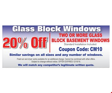 20% off 2 or more glass block basement windows
