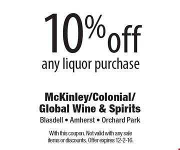 10% off any liquor purchase. With this coupon. Not valid with any sale items or discounts. Offer expires 12-2-16.