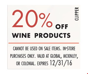 20% off wine products